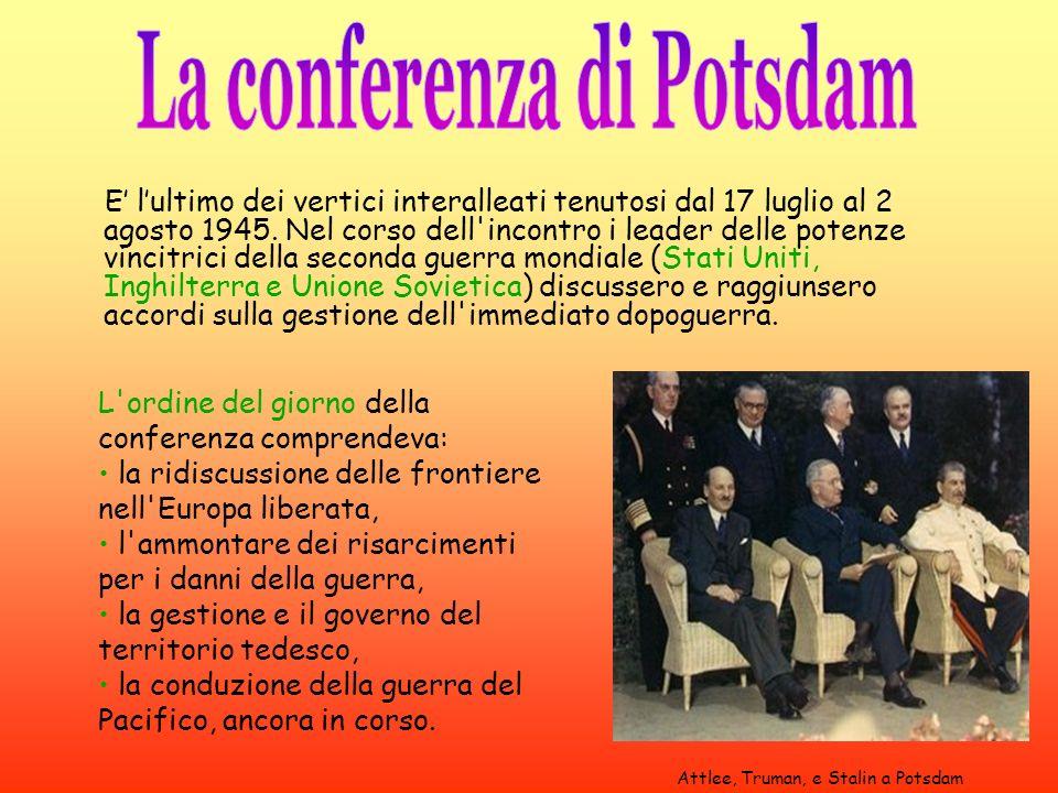 E lultimo dei vertici interalleati tenutosi dal 17 luglio al 2 agosto 1945. Nel corso dell'incontro i leader delle potenze vincitrici della seconda gu