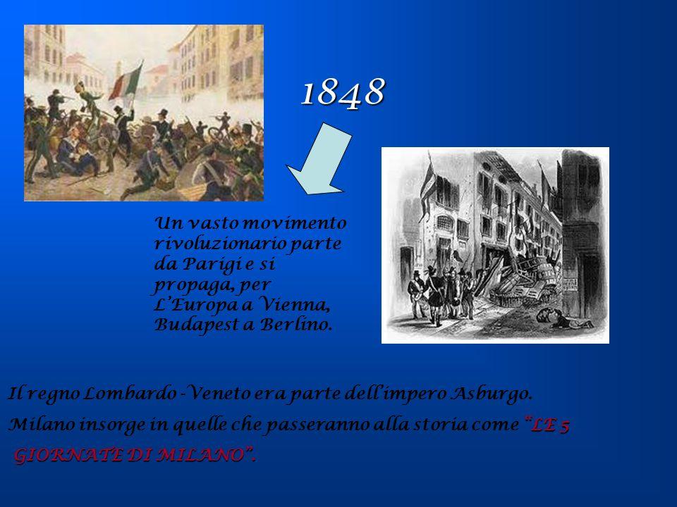 1848 Un vasto movimento rivoluzionario parte da Parigi e si propaga, per LEuropa a Vienna, Budapest a Berlino. Il regno Lombardo -Veneto era parte del