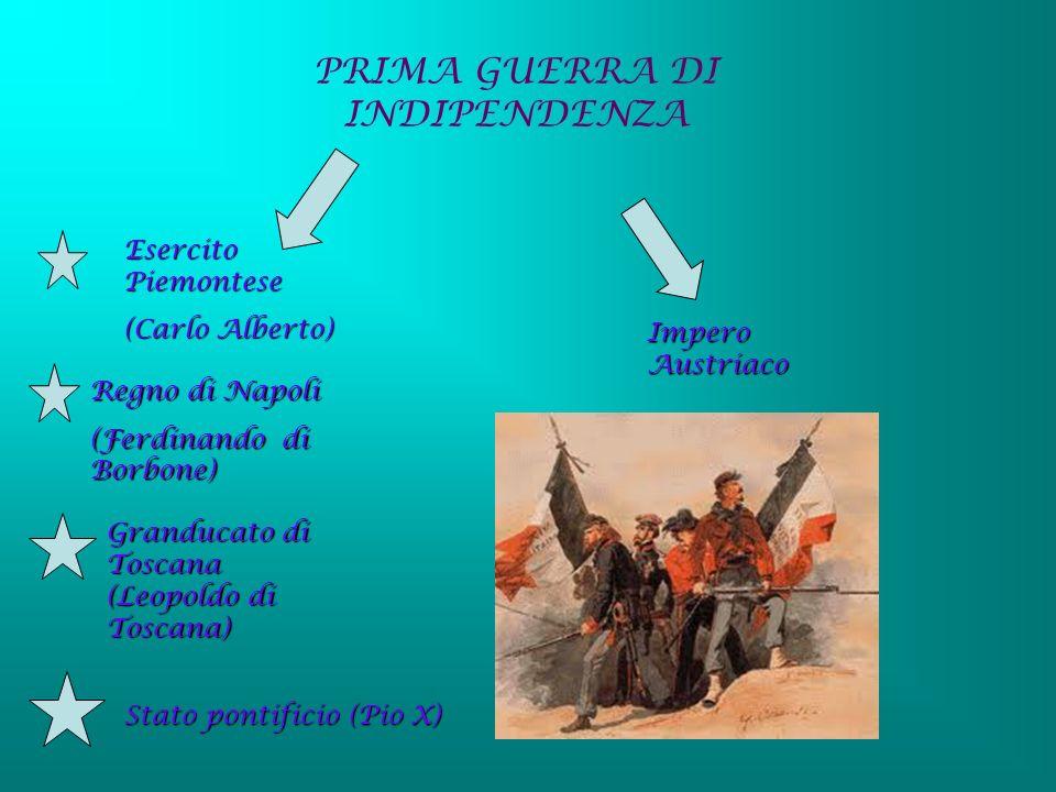 PRIMA GUERRA DI INDIPENDENZA Esercito Piemontese (Carlo Alberto) Regno di Napoli (Ferdinando di Borbone) Granducato di Toscana (Leopoldo di Toscana) S