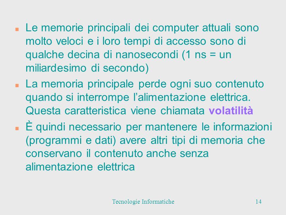 n Le memorie principali dei computer attuali sono molto veloci e i loro tempi di accesso sono di qualche decina di nanosecondi (1 ns = un miliardesimo di secondo) n La memoria principale perde ogni suo contenuto quando si interrompe lalimentazione elettrica.