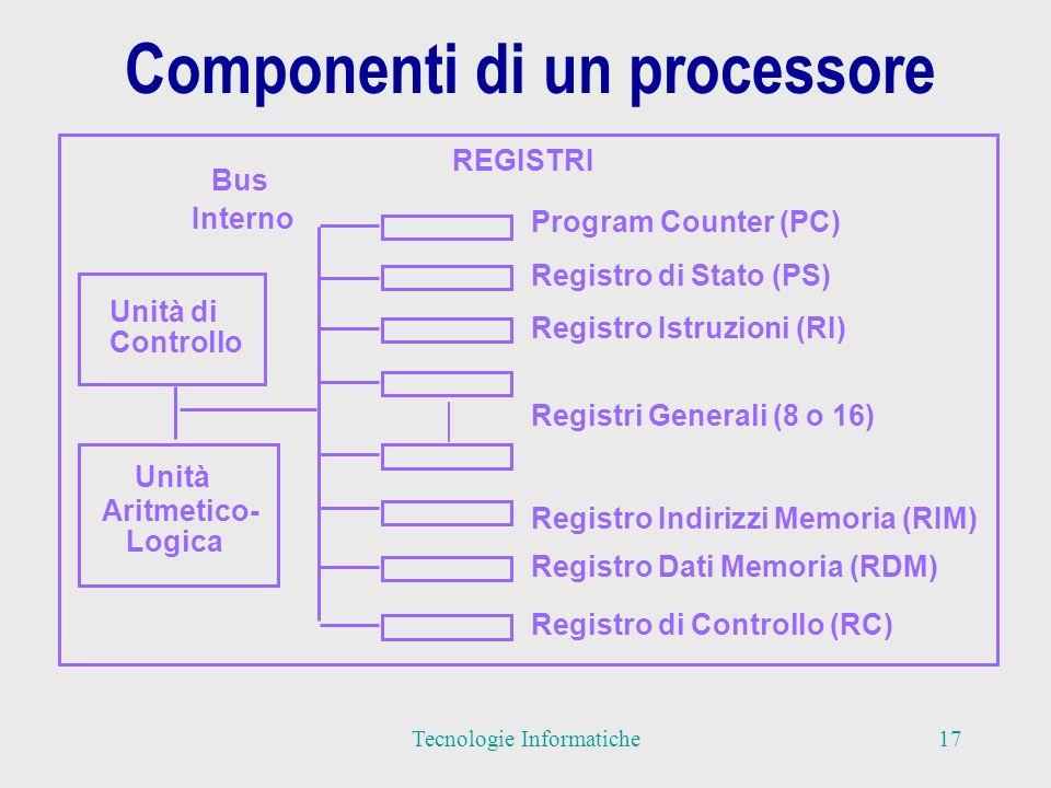 Componenti di un processore Unità di Controllo Unità Aritmetico- Logica REGISTRI Program Counter (PC) Registro di Stato (PS) Registro Istruzioni (RI) Registro Indirizzi Memoria (RIM) Registri Generali (8 o 16) Registro Dati Memoria (RDM) Registro di Controllo (RC) Bus Interno 17Tecnologie Informatiche