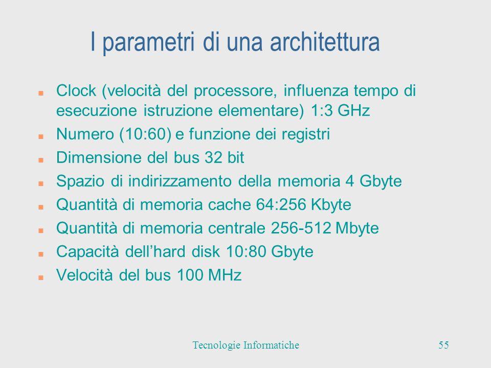 I parametri di una architettura n Clock (velocità del processore, influenza tempo di esecuzione istruzione elementare) 1:3 GHz n Numero (10:60) e funzione dei registri n Dimensione del bus 32 bit n Spazio di indirizzamento della memoria 4 Gbyte n Quantità di memoria cache 64:256 Kbyte n Quantità di memoria centrale 256-512 Mbyte n Capacità dellhard disk 10:80 Gbyte n Velocità del bus 100 MHz 55Tecnologie Informatiche