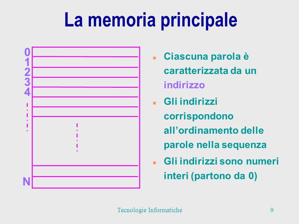La memoria principale n Un altro nome con cui viene indicata la memoria principale è memoria RAM (Random Access Memory) n Questa definizione indica che il tempo di accesso ad una parola è lo stesso, indipendente dalla sua posizione in memoria n Le operazioni che un Processore può effettuare sulla memoria sono le operazioni di lettura e scrittura di informazioni nelle parole 10Tecnologie Informatiche