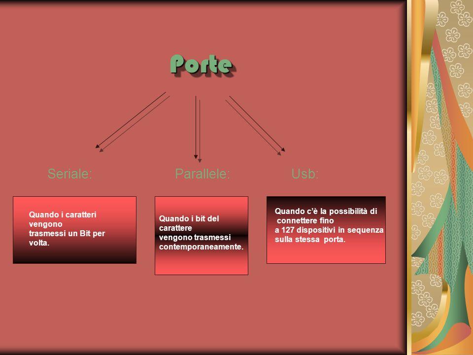 PortePorte Seriale: Parallele: Usb: Quando i caratteri vengono trasmessi un Bit per volta. Quando i bit del carattere vengono trasmessi contemporaneam