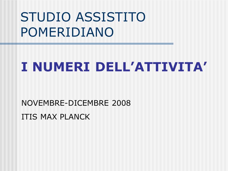 STUDIO ASSISTITO POMERIDIANO NOVEMBRE-DICEMBRE 2008 ITIS MAX PLANCK I NUMERI DELLATTIVITA