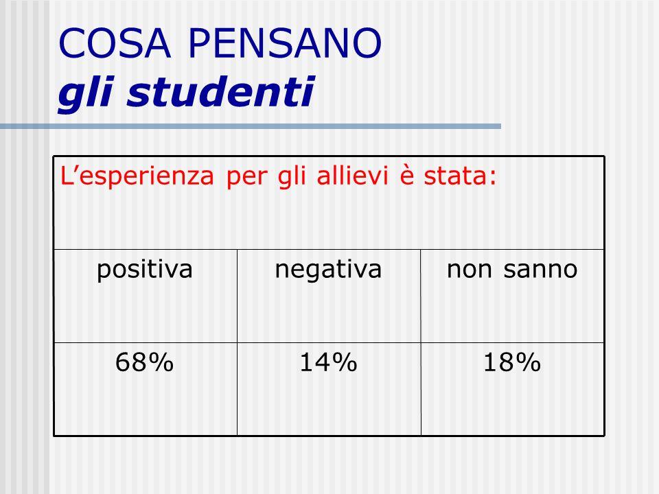 COSA PENSANO gli studenti 18%14%68% non sannonegativapositiva Lesperienza per gli allievi è stata: