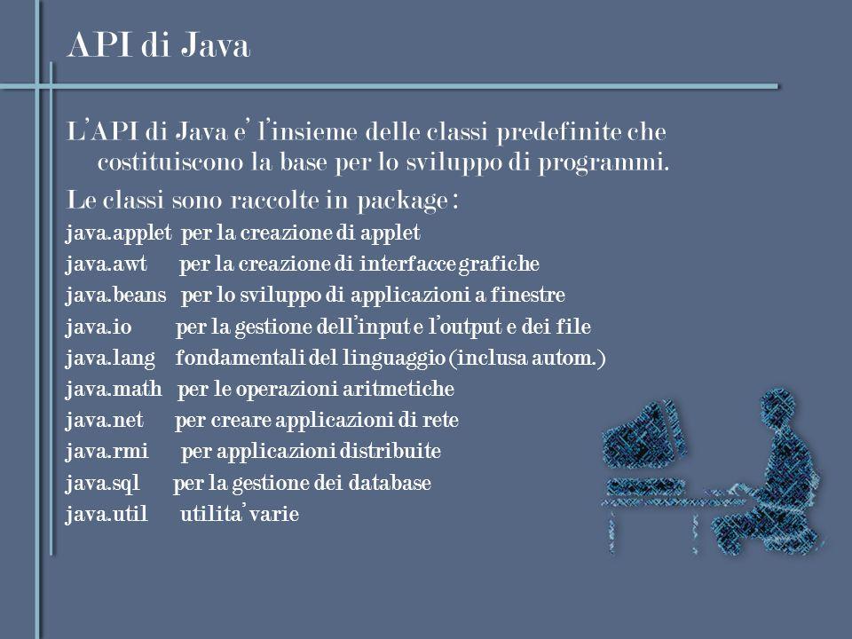 API di Java LAPI di Java e linsieme delle classi predefinite che costituiscono la base per lo sviluppo di programmi. Le classi sono raccolte in packag
