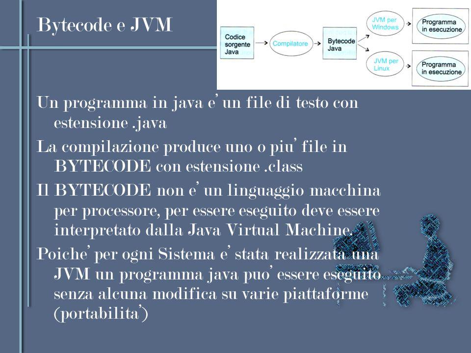 Bytecode e JVM Un programma in java e un file di testo con estensione.java La compilazione produce uno o piu file in BYTECODE con estensione.class Il