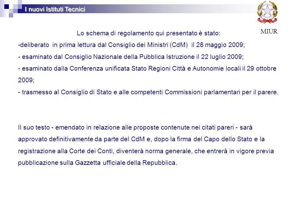 Lo schema di regolamento qui presentato è stato: -deliberato in prima lettura dal Consiglio dei Ministri (CdM) il 28 maggio 2009; - esaminato dal Cons