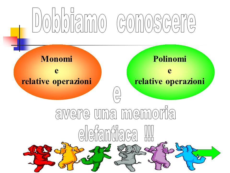 Monomi e relative operazioni Polinomi e relative operazioni