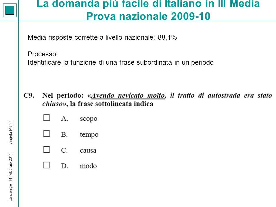 La domanda più difficile di Italiano in III Media Prova nazionale 2009-10 Media risposte corrette a livello nazionale: a)22,5% b)25,7% Processo: Identificare quale funzione sintattica svolge una parola in una frase Lancenigo, 14 febbraio 2011 Angela Martini