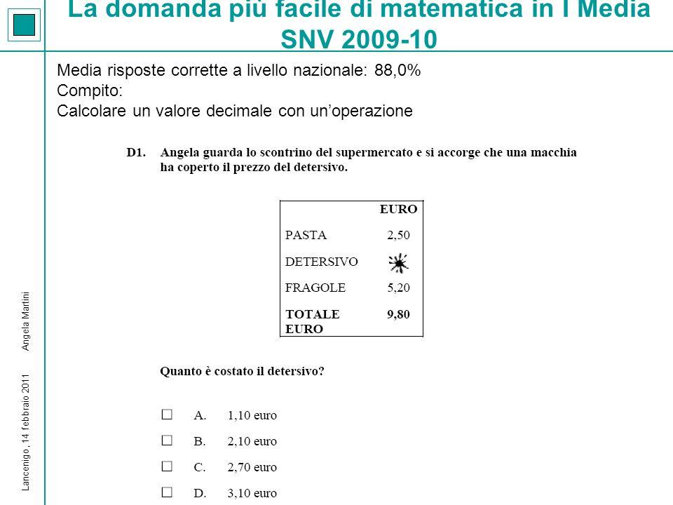 La domanda più difficile di matematica in I Media SNV 2009-10 Media risposte corrette a livello nazionale: 25,4% Compito: Misurare grandezze discrete per conteggio Lancenigo, 14 febbraio 2011 Angela Martini