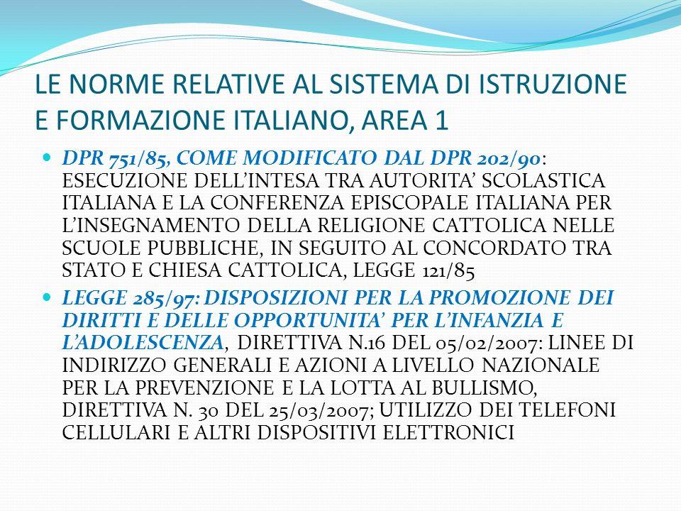 LE NORME RELATIVE AL SISTEMA DI ISTRUZIONE E FORMAZIONE ITALIANO, AREA 1 DPR 751/85, COME MODIFICATO DAL DPR 202/90: ESECUZIONE DELLINTESA TRA AUTORIT