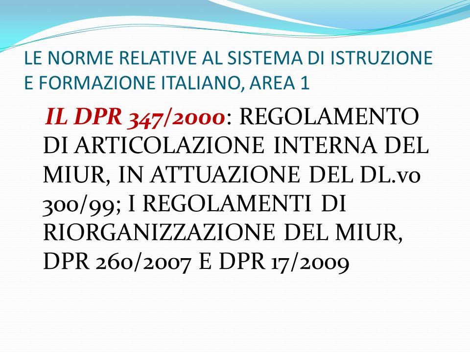 LE NORME RELATIVE AL SISTEMA DI ISTRUZIONE E FORMAZIONE ITALIANO, AREA 1 IL DPR 347/2000: REGOLAMENTO DI ARTICOLAZIONE INTERNA DEL MIUR, IN ATTUAZIONE