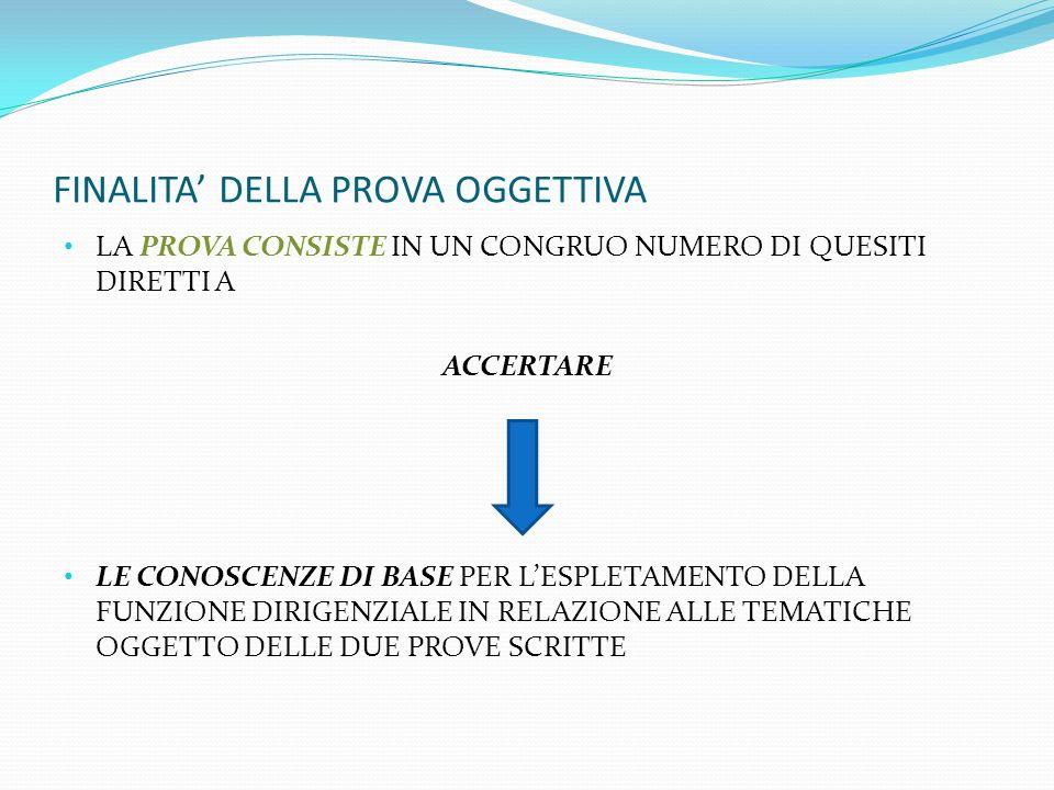 TEMATICHE OGGETTO DEI QUESITI AREA 1 SISTEMI FORMATIVI E ORDINAMENTI DEGLI STUDI IN ITALIA E NEI PAESI DELLA UE AREA 2 MODALITA DI CONDUZIONE DELLE ORGANIZZAZIONI COMPLESSE IN GENERALE E IN RELAZIONE AGLI SPECIFICI SETTORI DELLA STRUTTURA SCOLASTICA 1)GIURIDICO AMMINISTRATIVO FINANZIARO 2) SOCIO- PSICOPEDAGOGICO, ORGANIZZATIVO, RELAZIONALE E COMUNICATIVO AREA 3 RISOLUZIONE DI UN CASO RELATIVO ALLA GESTIONE DELLISTITUZIONE SCOLASTICA, CON PARTICOLARE RIFERIMENTO ALLE STRATEGIE DI DIREZIONE, ANCHE IN RAPPORTO ALLE SIGENZE FORMATIVE DEL TERRITORIO AREA 4 USO DELLE APPARECCHIATURE E DELLE APPLICAZIONI INFORMATICHE, USO DI UNA LINGUA STRANIERA, A LIVELLO B1 DEL QUADRO EUROPEO DI RIFERIMENTO