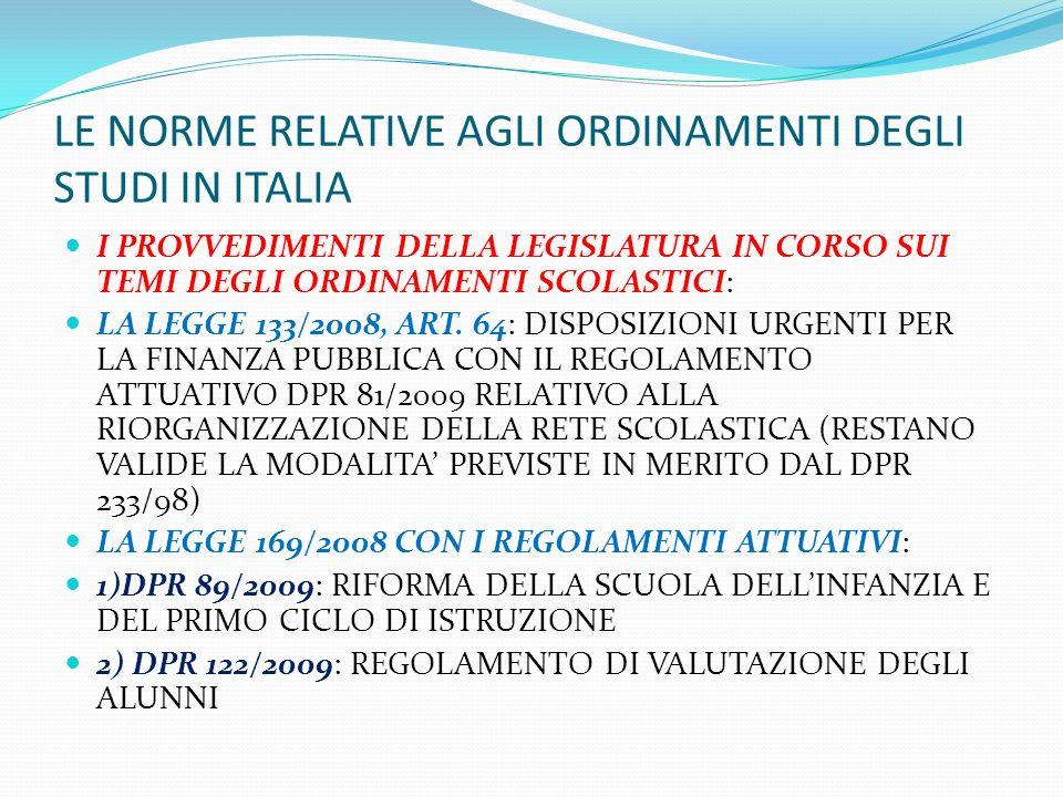 LE NORME RELATIVE AGLI ORDINAMENTI DEGLI STUDI IN ITALIA I PROVVEDIMENTI DELLA LEGISLATURA IN CORSO SUI TEMI DEGLI ORDINAMENTI SCOLASTICI: LA LEGGE 13