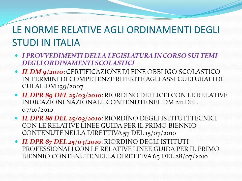 LE NORME RELATIVE AGLI ORDINAMENTI DEGLI STUDI IN ITALIA I PROVVEDIMENTI DELLA LEGISLATURA IN CORSO SUI TEMI DEGLI ORDINAMENTI SCOLASTICI IL DM 9/2010