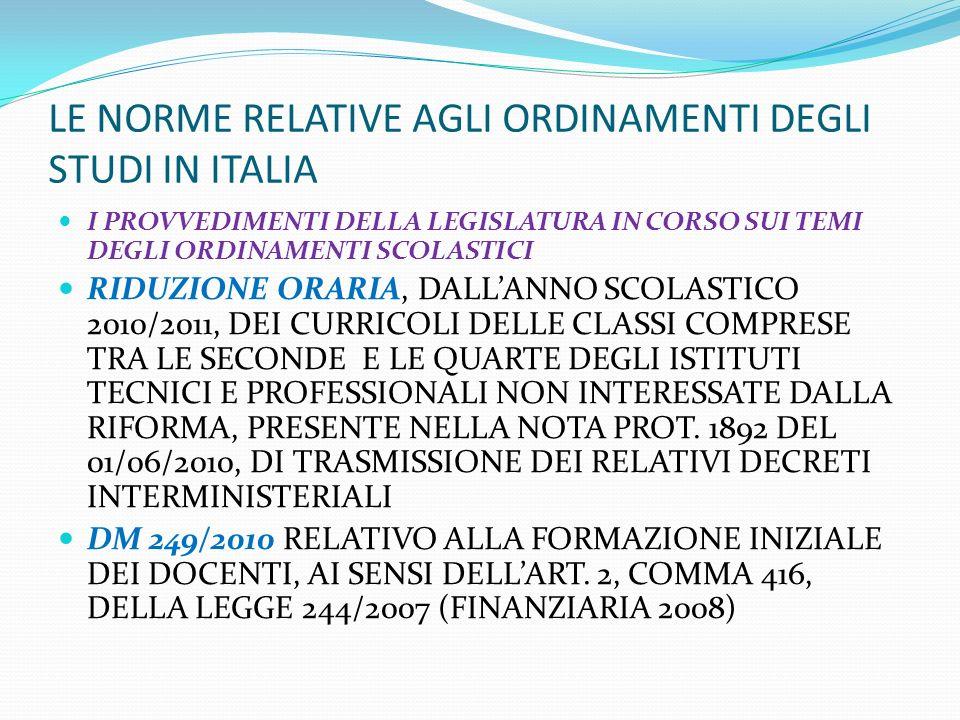 LE NORME RELATIVE AGLI ORDINAMENTI DEGLI STUDI IN ITALIA I PROVVEDIMENTI DELLA LEGISLATURA IN CORSO SUI TEMI DEGLI ORDINAMENTI SCOLASTICI RIDUZIONE OR