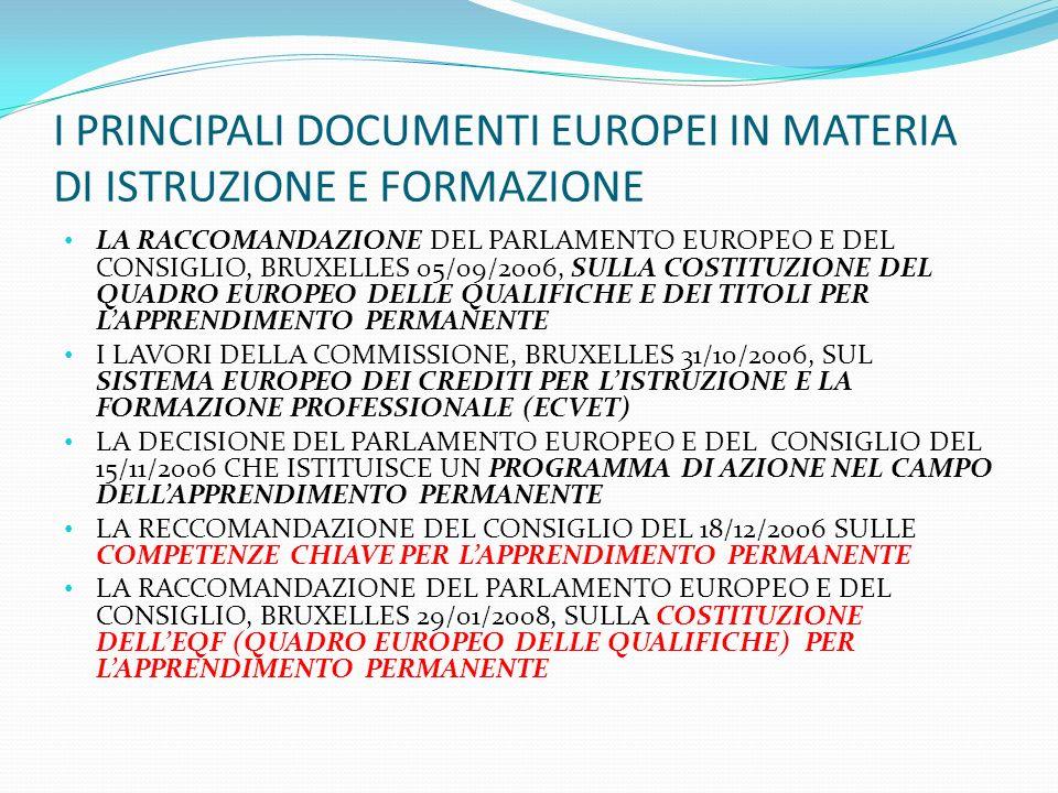 I PRINCIPALI DOCUMENTI EUROPEI IN MATERIA DI ISTRUZIONE E FORMAZIONE LA RACCOMANDAZIONE DEL PARLAMENTO EUROPEO E DEL CONSIGLIO, BRUXELLES 05/09/2006,