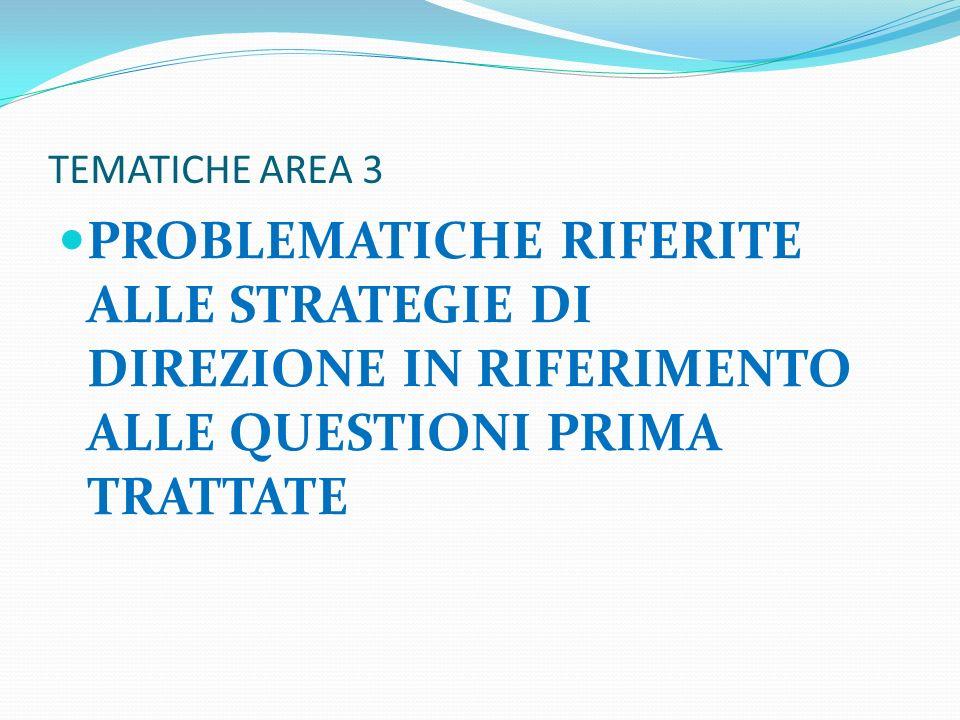 TEMATICHE AREA 3 PROBLEMATICHE RIFERITE ALLE STRATEGIE DI DIREZIONE IN RIFERIMENTO ALLE QUESTIONI PRIMA TRATTATE