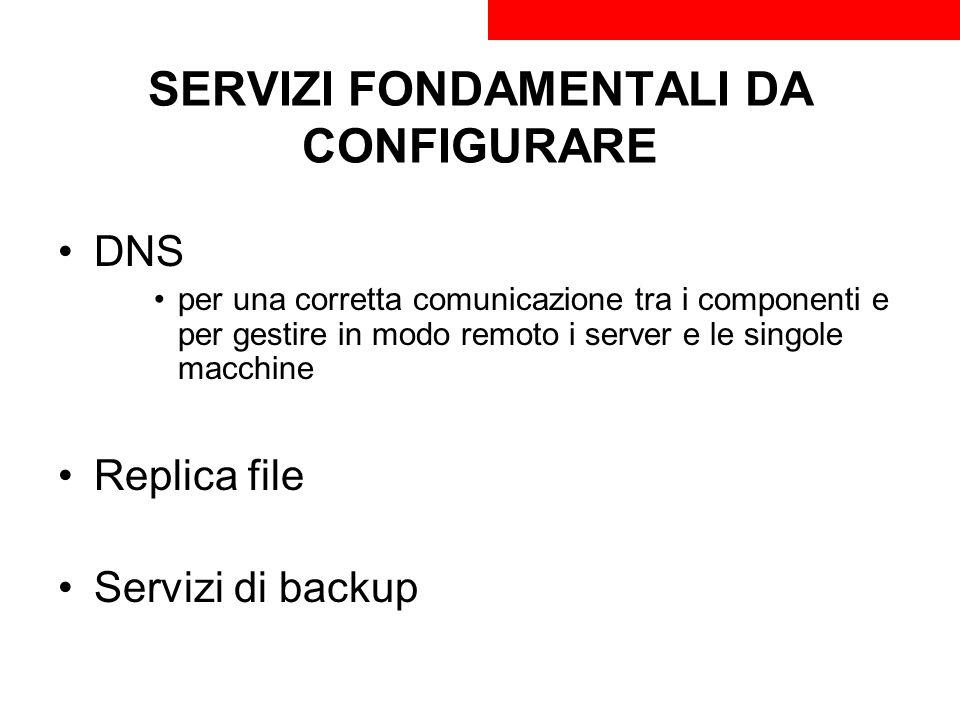 SERVIZI FONDAMENTALI DA CONFIGURARE DNS per una corretta comunicazione tra i componenti e per gestire in modo remoto i server e le singole macchine Re