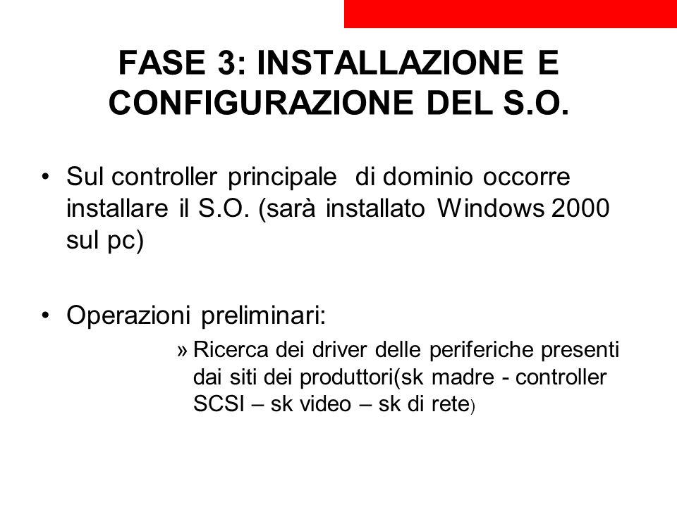 FASE 3: INSTALLAZIONE E CONFIGURAZIONE DEL S.O. Sul controller principale di dominio occorre installare il S.O. (sarà installato Windows 2000 sul pc)