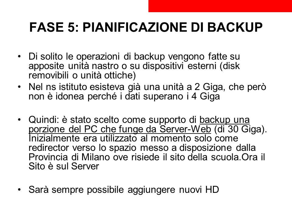 FASE 5: PIANIFICAZIONE DI BACKUP Di solito le operazioni di backup vengono fatte su apposite unità nastro o su dispositivi esterni (disk removibili o