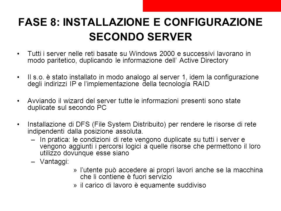 FASE 8: INSTALLAZIONE E CONFIGURAZIONE SECONDO SERVER Tutti i server nelle reti basate su Windows 2000 e successivi lavorano in modo paritetico, dupli
