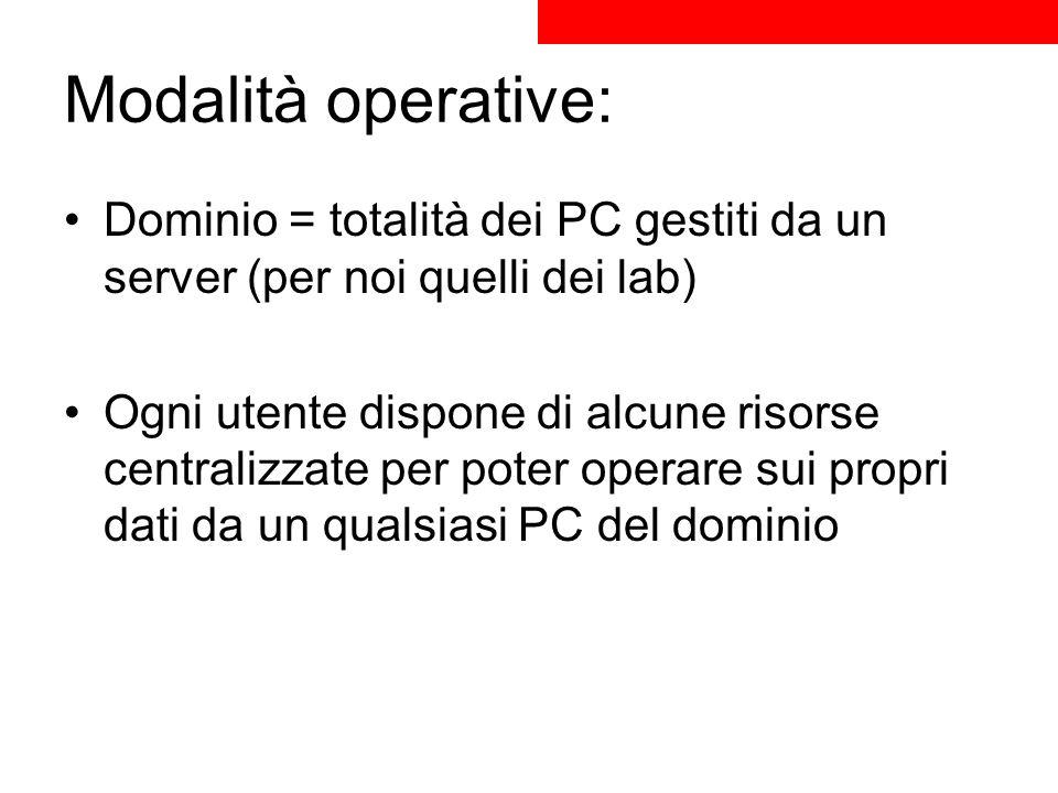 Modalità operative: Dominio = totalità dei PC gestiti da un server (per noi quelli dei lab) Ogni utente dispone di alcune risorse centralizzate per po