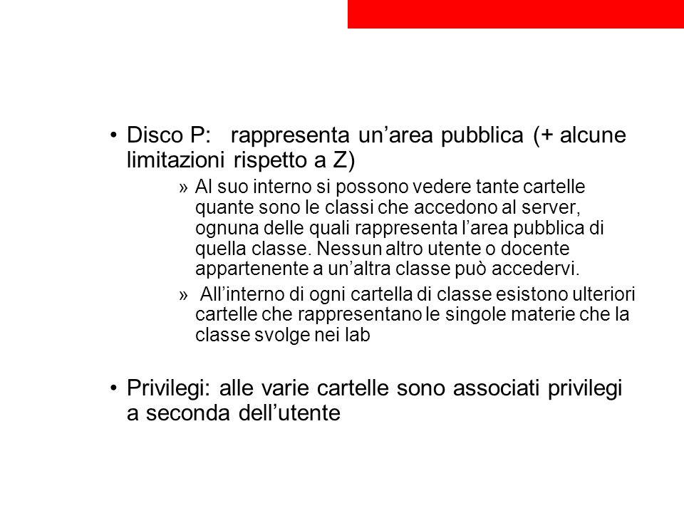 Disco P: rappresenta unarea pubblica (+ alcune limitazioni rispetto a Z) »Al suo interno si possono vedere tante cartelle quante sono le classi che ac