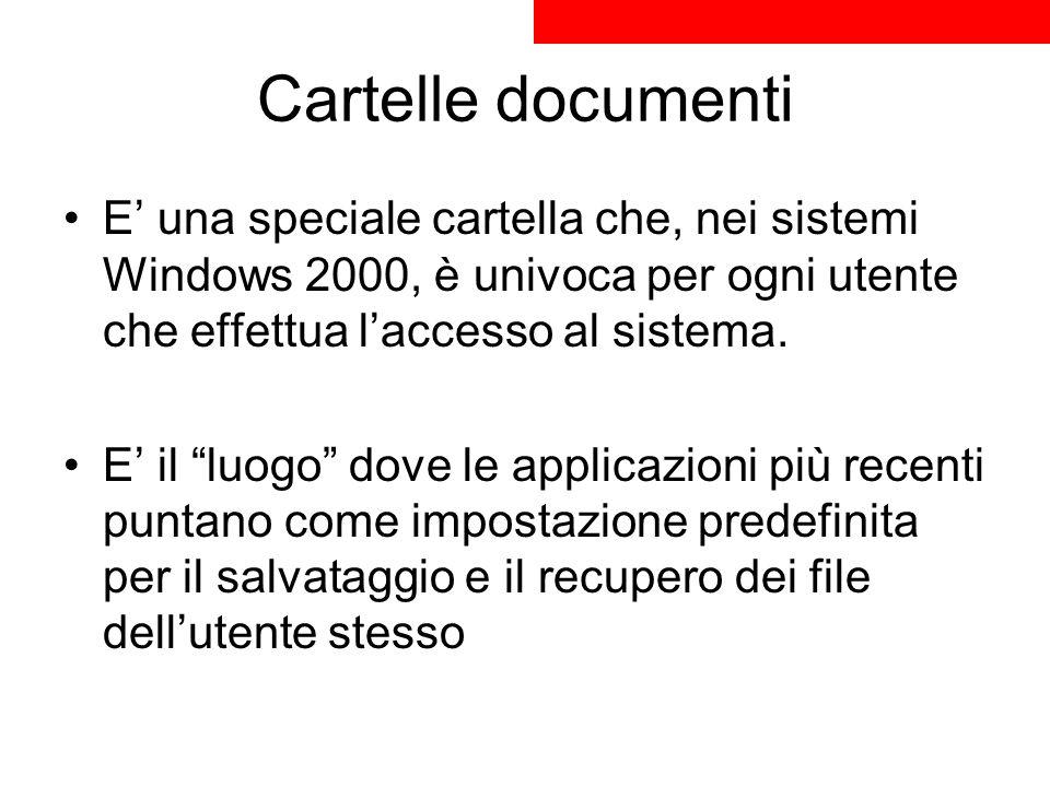 Cartelle documenti E una speciale cartella che, nei sistemi Windows 2000, è univoca per ogni utente che effettua laccesso al sistema. E il luogo dove