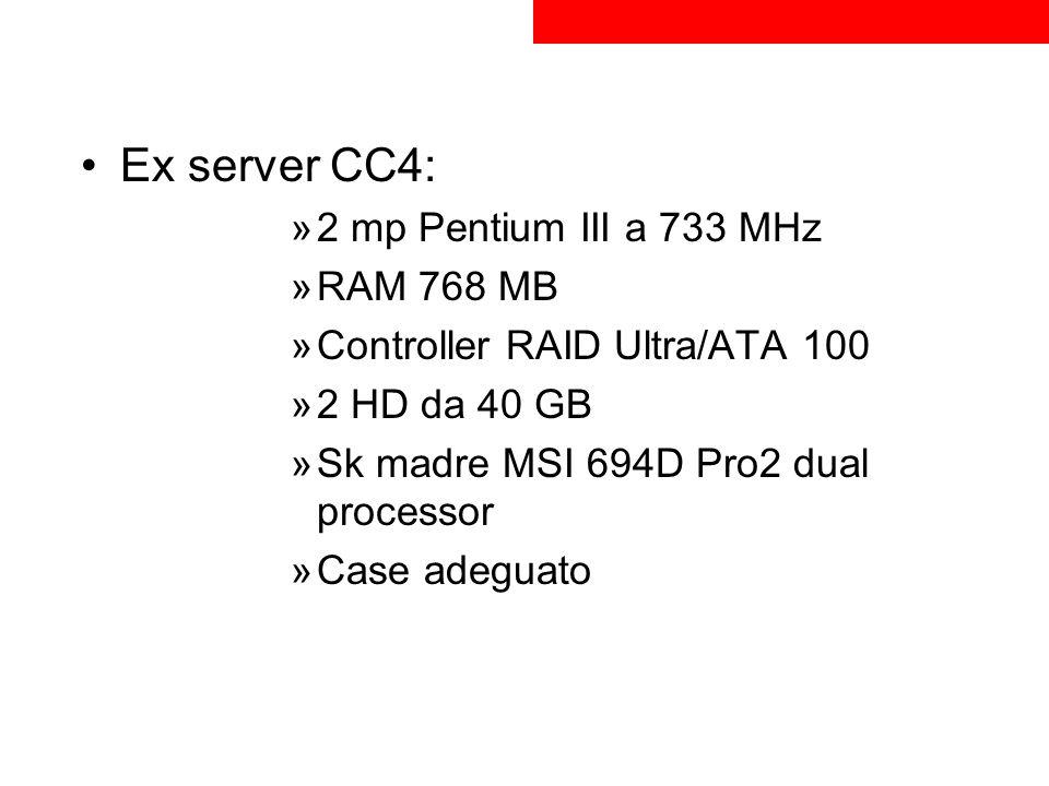 Entrambi i 2 HD di entrambi i server sono di uguale capacità Ciò ha permesso di implementare la tecnologia RAID per la protezione dei datitecnologia RAID 1° server: per la maggior capacità degli HD sarà il controller principale di dominio 2° server: ha ruolo di supporto