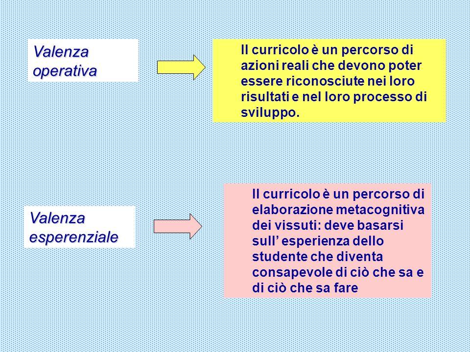 Valenza operativa Valenza esperenziale Il curricolo è un percorso di azioni reali che devono poter essere riconosciute nei loro risultati e nel loro p