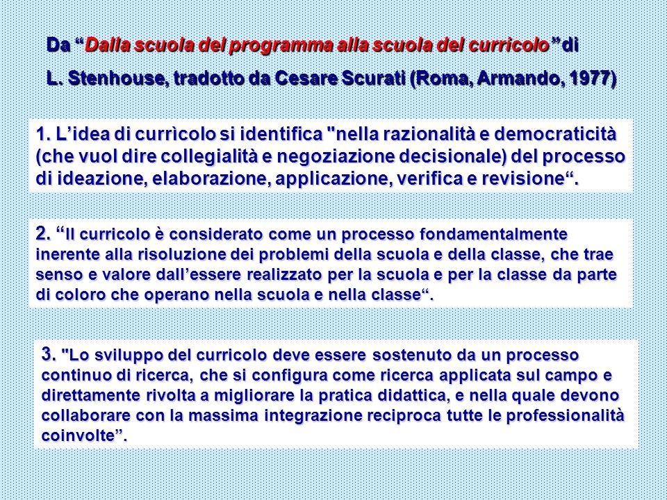 Da Dalla scuola del programma alla scuola del curricolo di L. Stenhouse, tradotto da Cesare Scurati (Roma, Armando, 1977) 1. Lidea di currìcolo si ide