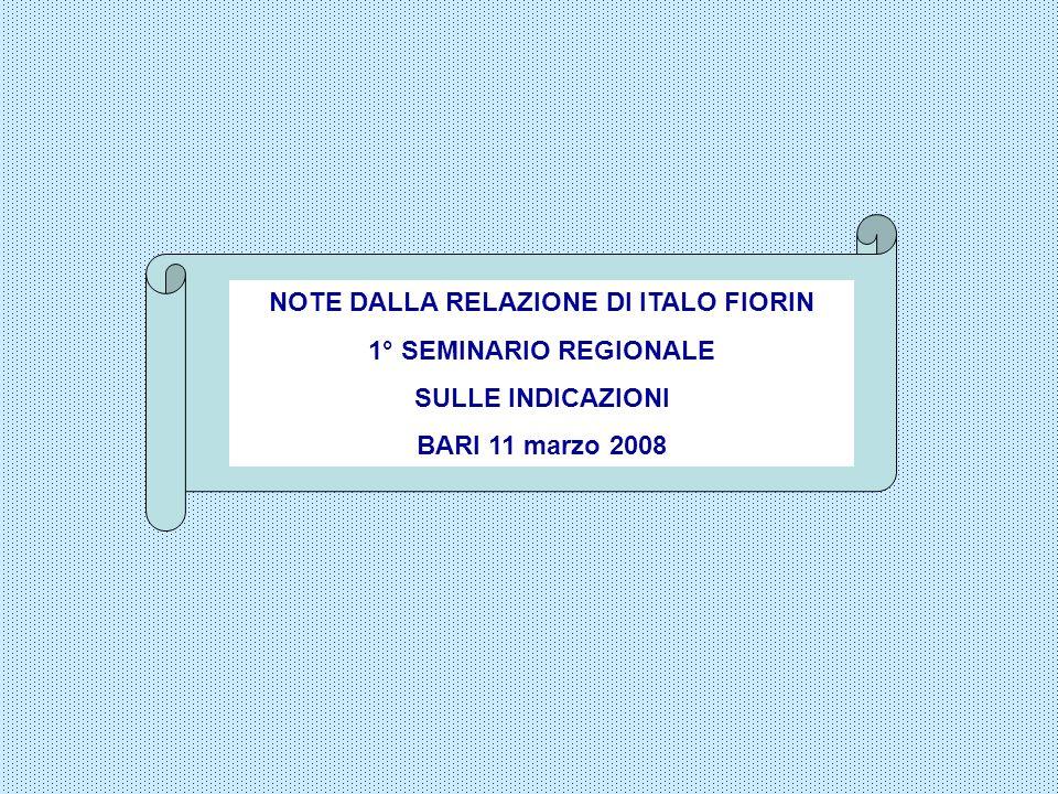 NOTE DALLA RELAZIONE DI ITALO FIORIN 1° SEMINARIO REGIONALE SULLE INDICAZIONI BARI 11 marzo 2008