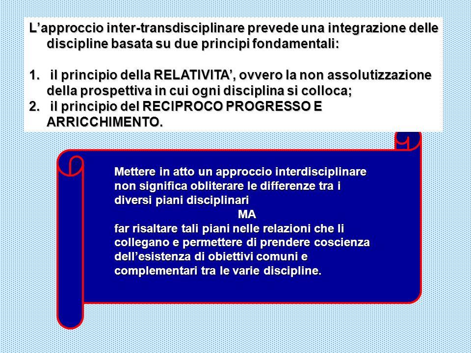 Lapproccio inter-transdisciplinare prevede una integrazione delle discipline basata su due principi fondamentali: 1. il principio della RELATIVITA, ov