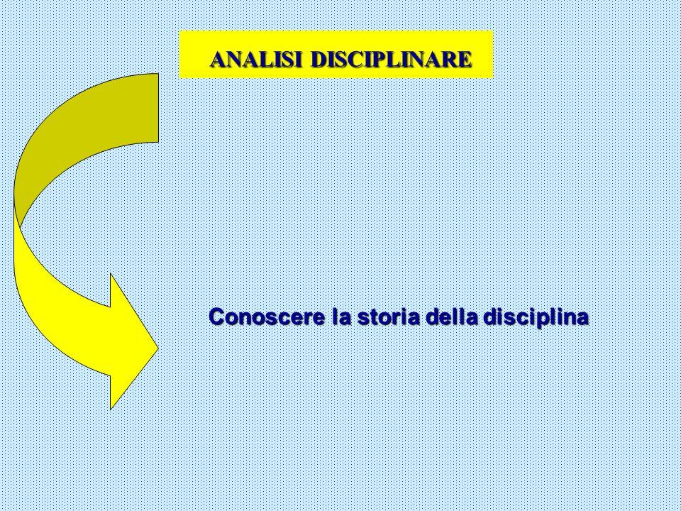ANALISI DISCIPLINARE Conoscere la storia della disciplina