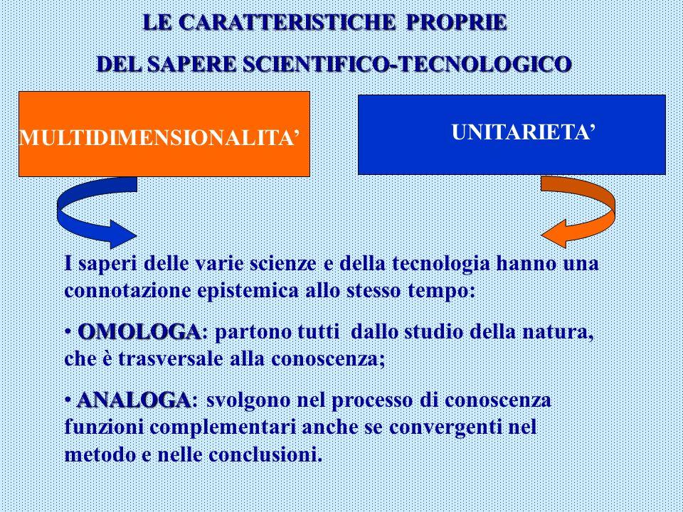 LE CARATTERISTICHE PROPRIE DEL SAPERE SCIENTIFICO-TECNOLOGICO MULTIDIMENSIONALITA UNITARIETA I saperi delle varie scienze e della tecnologia hanno una