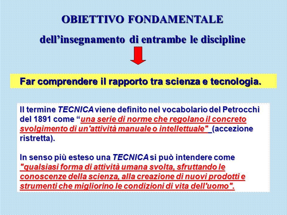 OBIETTIVO FONDAMENTALE dellinsegnamento di entrambe le discipline Far comprendere il rapporto tra scienza e tecnologia. Far comprendere il rapporto tr