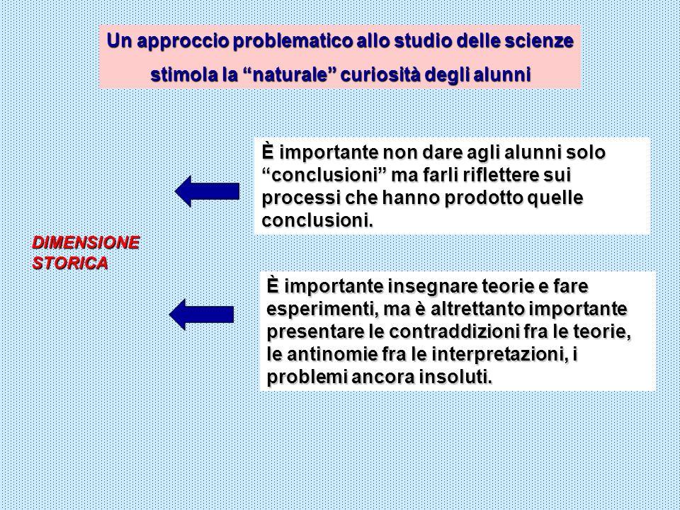 Un approccio problematico allo studio delle scienze stimola la naturale curiosità degli alunni È importante non dare agli alunni solo conclusioni ma f