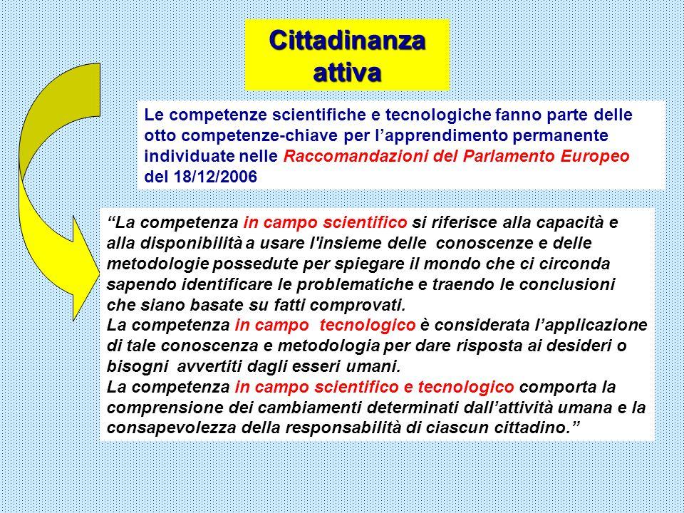 Cittadinanza attiva Le competenze scientifiche e tecnologiche fanno parte delle otto competenze-chiave per lapprendimento permanente individuate nelle