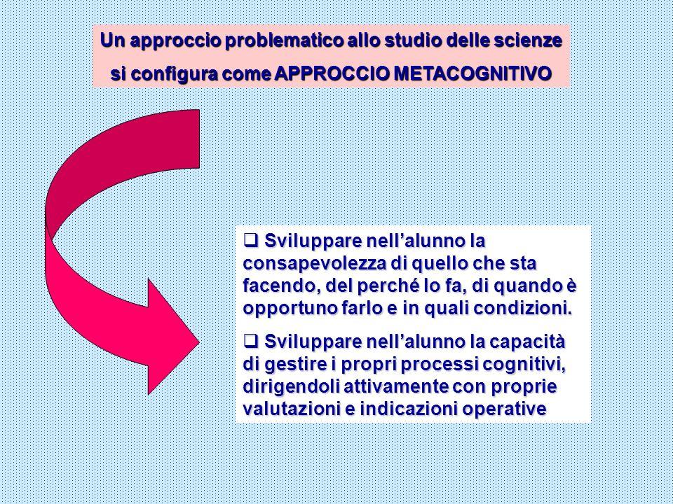 Un approccio problematico allo studio delle scienze si configura come APPROCCIO METACOGNITIVO Sviluppare nellalunno la consapevolezza di quello che st