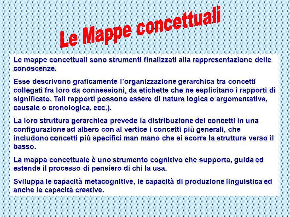 Le mappe concettuali sono strumenti finalizzati alla rappresentazione delle conoscenze. Esse descrivono graficamente lorganizzazione gerarchica tra co