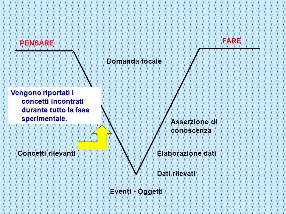 FARE Eventi - Oggetti Domanda focale PENSARE Dati rilevati Vengono riportati i concetti incontrati durante tutto la fase sperimentale. Elaborazione da