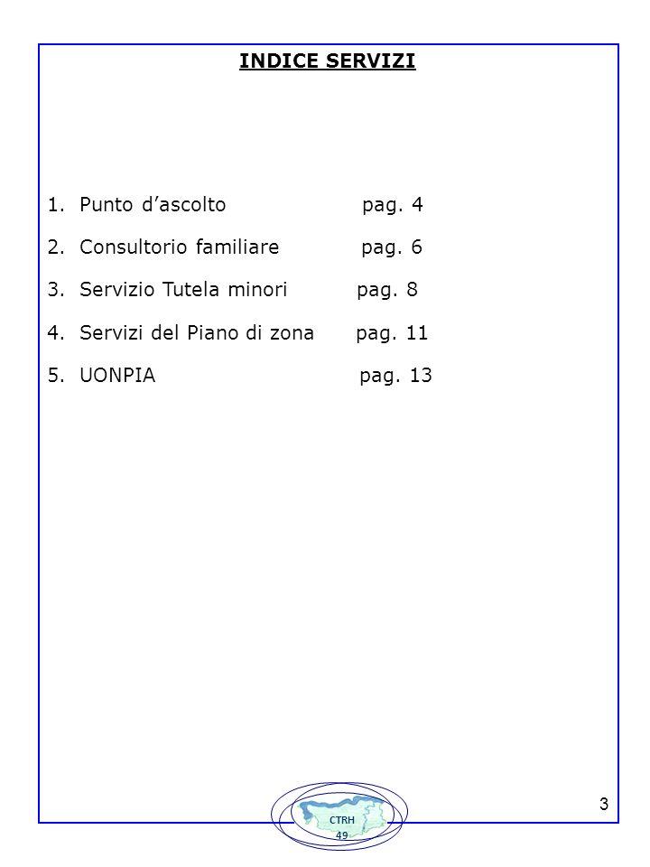 133 INDICE SERVIZI 1.Punto dascolto pag.4 2.Consultorio familiare pag.