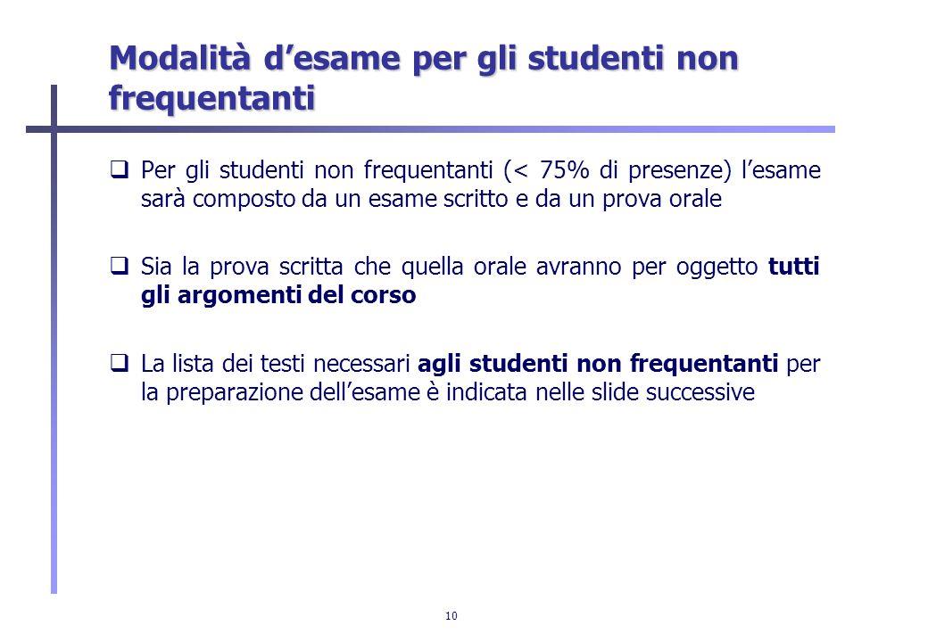 10 Modalità desame per gli studenti non frequentanti Per gli studenti non frequentanti (< 75% di presenze) lesame sarà composto da un esame scritto e