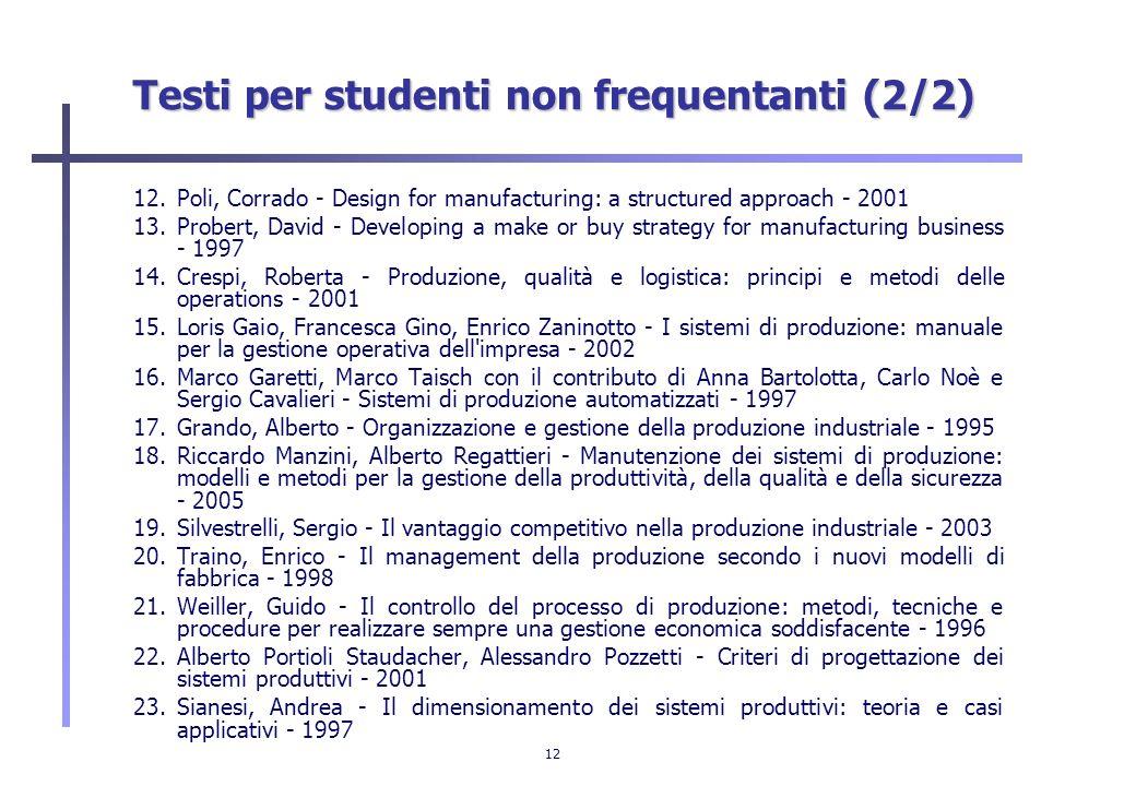 12 Testi per studenti non frequentanti (2/2) 12.Poli, Corrado - Design for manufacturing: a structured approach - 2001 13.Probert, David - Developing