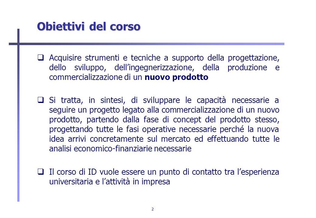 2 Obiettivi del corso Acquisire strumenti e tecniche a supporto della progettazione, dello sviluppo, dellingegnerizzazione, della produzione e commerc