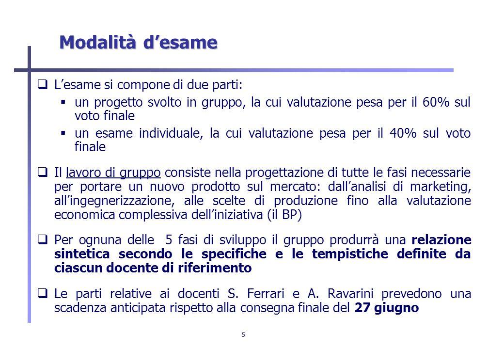 5 Modalità desame Lesame si compone di due parti: un progetto svolto in gruppo, la cui valutazione pesa per il 60% sul voto finale un esame individual