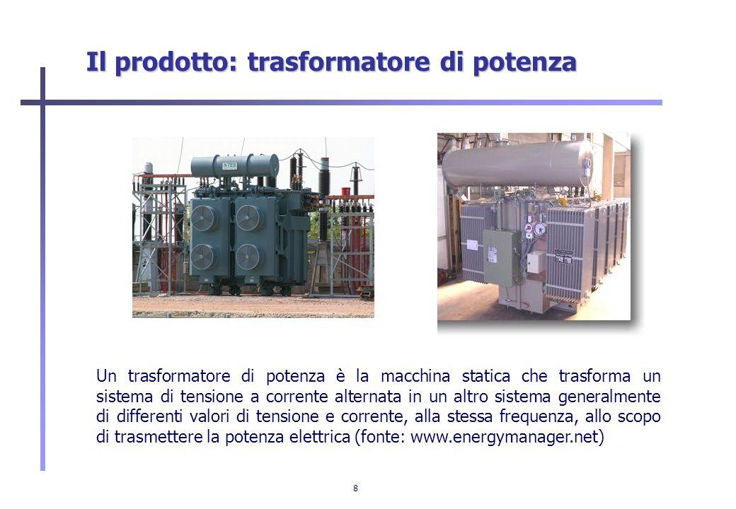 8 Il prodotto: trasformatore di potenza Un trasformatore di potenza è la macchina statica che trasforma un sistema di tensione a corrente alternata in
